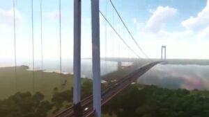 Imagini spectaculoase cu podul suspendat de la Brăila